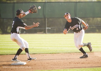 Second baseman Andrew Devian flips the ball to shortstop Joey Gonzales who is covering second.