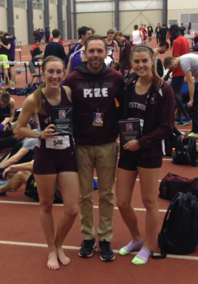 All-American's Kristan Holding and Becky Collier with Multi-Events Coach Josh Priester