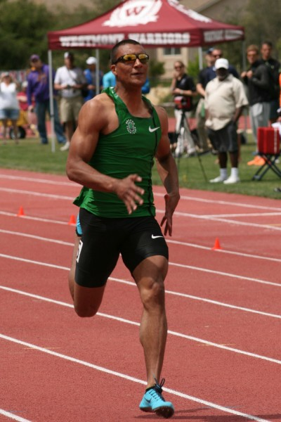 Ashton Eaton competing in the 100 meters during the Sam Adams Combined Events Invitational at Westmont.