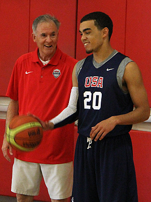 USA U18 court coach John Moore shares a laugh with USA U18 National Team hopeful Tyus Jones. Photo courtesy USA Basketball.