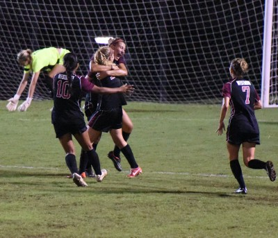 Westmont Women's Soccer celebrates win over Martin Methodist (Tenn.) - Photo courtesy Chris Wells, Lindsey Wilson Sports Information.