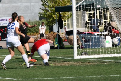 Brooke Lillywhite scores one of her record setting five goals.