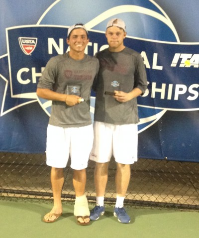Josh Barnard (left) and Carl Lindqvist display national runner-up hardware.