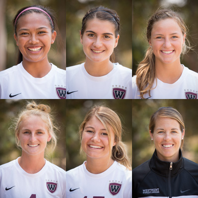 (Top row) All-GSAC honorees: Tiffany Dimaculangan, Sophie Fuller, Sophie Judd. (Bottom row) All-GSAC honorees: Mallory Mitchell, Kelsie Steck. GSAC Coach of the Year Kristi Kiely.