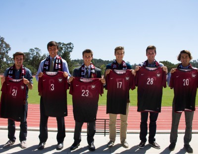 Westmont signed seven recruits for the 2015 season. (Left to right: Dash Wulterin, Tim Heiduk, Sam Martin, Asher Booth, Collin Scott, Gabe Thurner. Not pictured: Jeremiah Anderson).