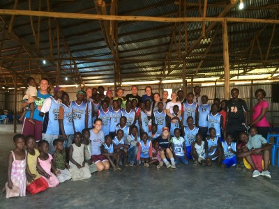 Basketball Clinic at the Kawempe slum project in Kampala.