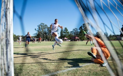 Kelsey Steck scoring one of her five goals. (Photo by Nathan Ngo)