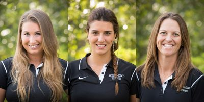 Lauren Stratman (left), Ines Costamagna (middle), and head coach Kendyll McManigal (Photos by Brad Elliott)