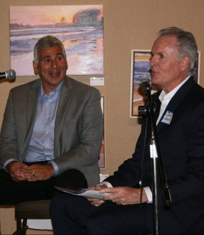 Jeff Azain (left) as he is inducted into the Santa Barbara Court of Champions. John Moore (right) was the master of ceremonies.