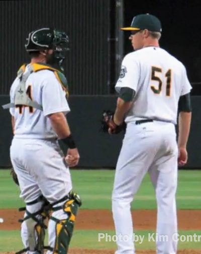 Jarrett Costa (left) and Sam Sheehan, playing for the Arizona League Athletics.(Photo courtesy Kim Contreras)
