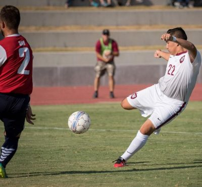 Francisco Castro scoring the winning goal versus Antelope Valley. Photo by Brad Elliott.