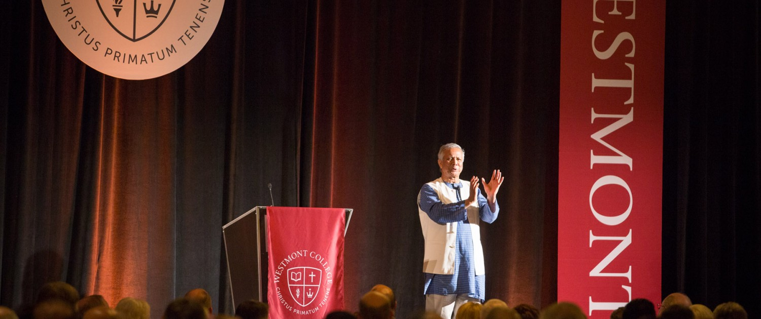 Muhammad Yunus speaks at Westmont's President's Breakfast