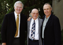 Ross Porter, Ernie Harwell and  Ron Shelton '67