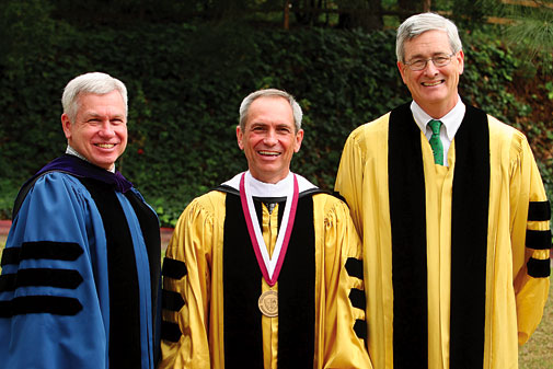 Richard Pointer (center) is the first recipient of the Fletcher Jones Foundation Chair in the Social Sciences. His brother, Steven Pointer (left) and Joel Carpenter participated in the installation ceremony