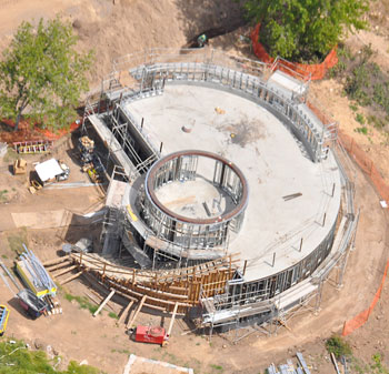 An aerial view reveals progress on the new observatory.