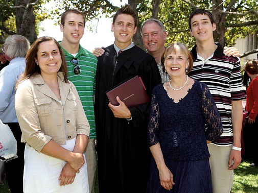 The Miller Family (left to right): Kelli, Lucas, John, Mark, Linda and C.J.