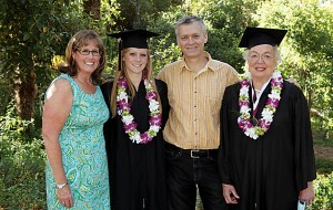 Three generations of Westmont graduates (left to right): Kathi Watts Walker '82, Hanna Walker '10, Dan Walker '82 and Golden Warrior Carla Wessel Walker '60