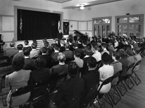 A chapel service at Westmont in Los Angeles in the 1940s.