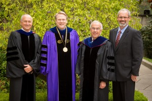(Left to right:) Board of Trustees chairman Peter Thorrington, President Gayle D. Beebe, David Brooks, and Westmont Medal recipient Rolf Geyling