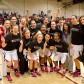 The Warriors celebrate their first-ever Golden State Athletic Conference regular season championship Feb. 21.