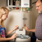 Junior Aleah Bond and Dr. David Marten with the new NMR
