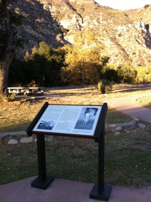The new sign honoring William Stafford at Los Prietos Civilian Public Service Camp