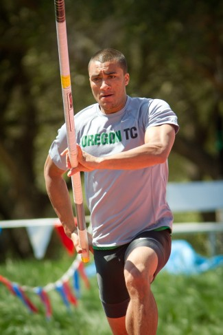 Ashton Eaton competes in the pole vault at the Sam Adams Classic in 2012