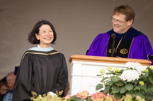 Jane Higa and President Gayle D. Beebe