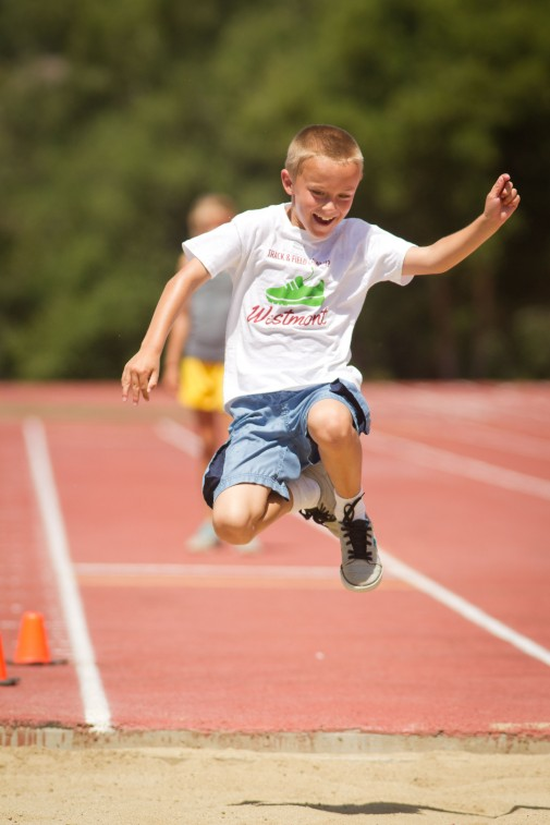 Vincent Rinaldi competes in the long jump during the 2012 Track and Field Camp