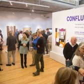crowd at Westmont Ridley-Tree Museum of Art for Confluence art exhibitino