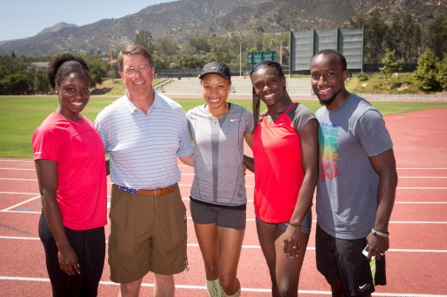 Jeneba Tarmoh, Russell Smelley, Allyson Felix, Dawn Harper and Alonzo Nelson at the Westmont Track