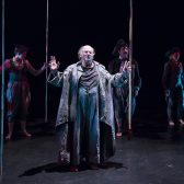 "Sara Reynolds '11, Stanley Hoffman, Michael Bernard and Victoria Finlayson in ""The Tempest"" (Photo by David Bazemore)"