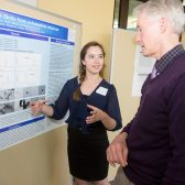 Tjitske Veldstra explains her research project to professor Russell Howell