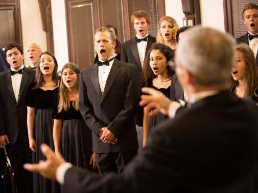 Dr. Michael Shasberger conducts the Westmont choir