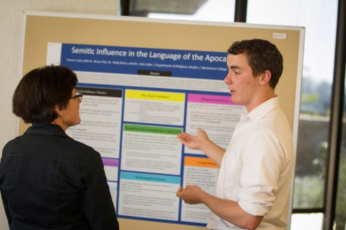 Tanner Lowe '14 presents his research in religious studies