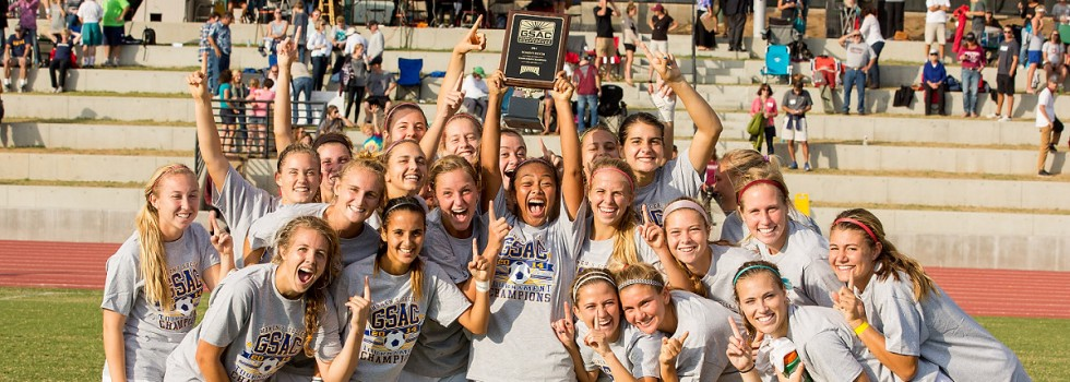 The Warriors celebrate after becoming GSAC Tourney champs