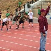 Russell Smelley starts the boys 80m race