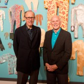 "Keith Puccinelli and Dane Goodman in front of ""Pajamas"""