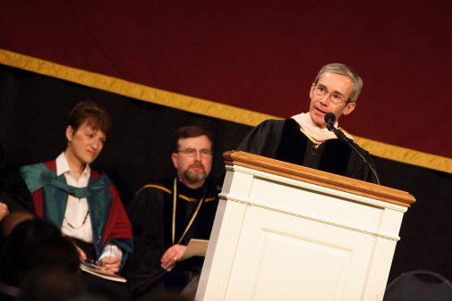 Michael Shasberger speaks at his installation flanked by former provost Shirley Mullen and former president Stan Gaede in January 2006.