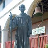 A statue of Junipero Serra at Santa Barbara Mission