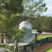 The Westmont Observatory between the baseball field and track