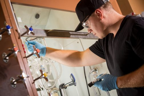 Student Patrick Burree conducts summer chemistry research