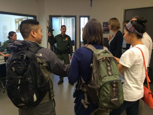 Members of the Border Patrol speak with Westmont faculty and staff last May
