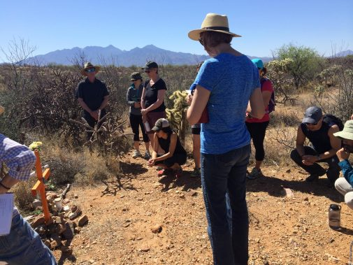Members of Westmont's Border Immersion Seminar at a memorial near the Arizona-Mexico border