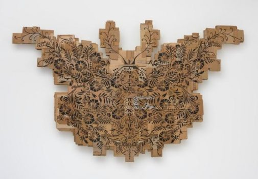 """Andrea Bowers' """"Monarch Butterfly (Families Do Not Have Borders)"""" 2016, Marker on cardboard 59.50 in. x 96.50 in. (Courtesy of the artist and Susanne Vielmetter Los Angeles Projects)"""