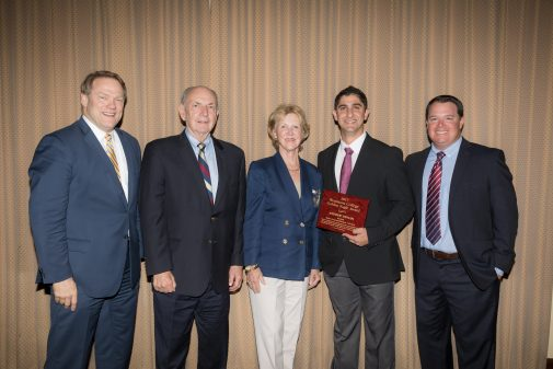 Rob Ruiz poses with Andrew Devian. Also pictured: President Gayle D. Beebe, Pete and Gerd Jordano.