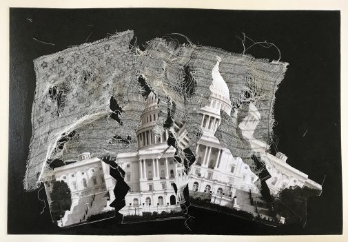 "Cody Cammbell's ""A House Divided"" (collage) won Second Honorable Mention"
