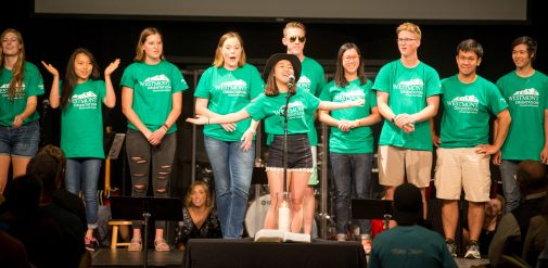 Members of the Orientation Team introduce themselves to new students and families at the Welcome Session Thursday