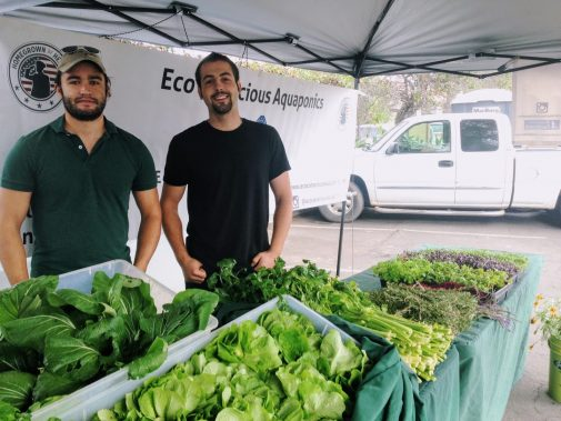 Clayton Garland (left) and Julian Cantando (right) own Eco-Conscious Aquaponics (Kathryn Barnes/KCRW)