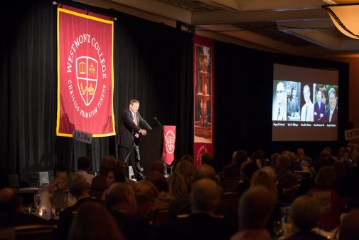 President Gayle D. Beebe speaks at the 75th anniversary gala